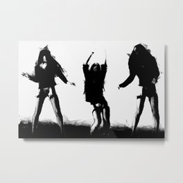 Girls Dancing GREY Metal Print