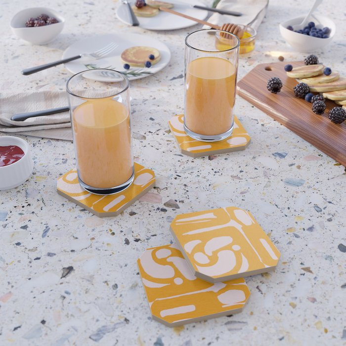 Abstract in Yellow and Cream Coaster