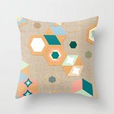 Cork Hexagons (Beige) Throw Pillow
