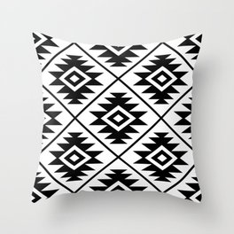 Aztec Symbol Pattern Black on White Throw Pillow