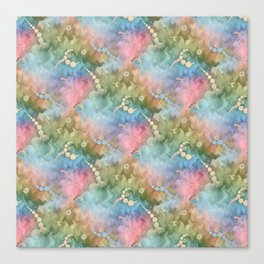 Satin Rainbow Pastel Floral Canvas Print