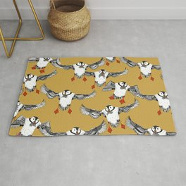 Atlantic Puffins gold Rug