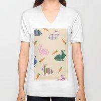 rabbits V-neck T-shirts featuring rabbits by vitamin