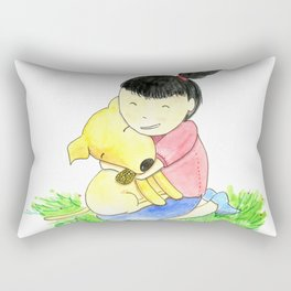 Bia and Little Bread Hugging Rectangular Pillow