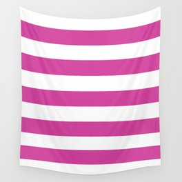 Barbie Pink (1975-1990) - solid color - white stripes pattern Wall Tapestry