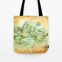 neverland Tote Bags featuring Neverland Map by Mercedes Jennings