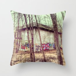 graffiti in the woods Throw Pillow