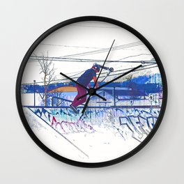 Spinning the Deck - Trick Scooter Sports Art Wall Clock
