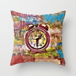 """Late Night Science Abstract """"Clock"""" Painting by Jeanpaul Ferro Throw Pillow"""