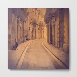 The dog in the narrow street of Barcelona Metal Print