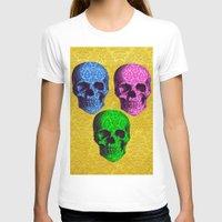 damask T-shirts featuring 3 Damask skulls. on damask. by Drew Mandigo