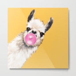 Bubble Gum Sneaky Llama in Yellow Metal Print
