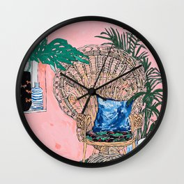 Peacock Chair in Pink Jungle Interior Wall Clock
