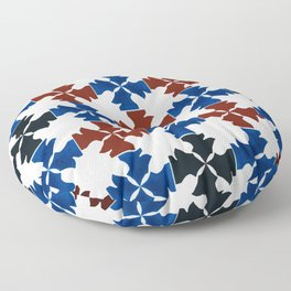 Knight Pattern In Sapphire Blue, Red, Black, and Maroon Floor Pillow