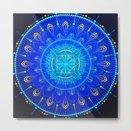 Blue mandala painting on canvas Metal Print