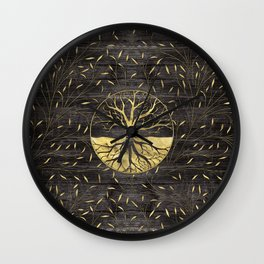 Golden Tree of life on wooden texture Wall Clock