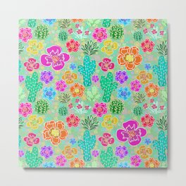 Cactus Festival Party - Green Metal Print