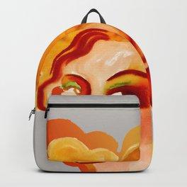 Deep orange yellow hues fashion portrait Backpack