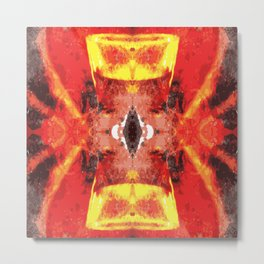 Afro style red yellow Metal Print