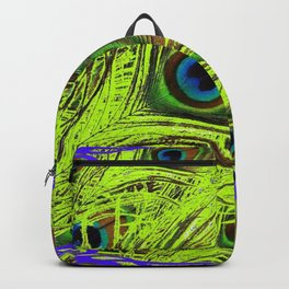 PURPLE ART NOUVEAU GREEN PEACOCK FEATHERS ABSTRACT ART Backpack
