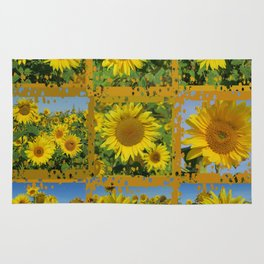 Collage of yellow sunflowers in summer, cheerful yellow flowers in front of bright blue sky Rug