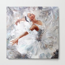 Ballerina dancing. Vintage hand painted illustration Metal Print