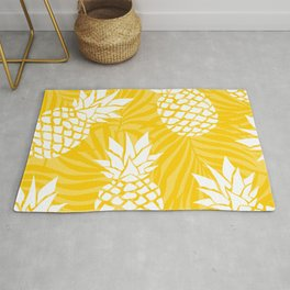 Hawaii Prints, Pineapple Summer, Yellow Art Rug