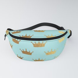 Gold Glitter effect crowns on teal - Royal Pattern for Princesses Fanny Pack