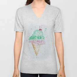 Icecream Summer love Cherry illustration ice cream cone watercolor Unisex V-Neck