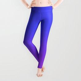 Neon Purple and Bright Neon Blue Ombré Shade Color Fade Leggings