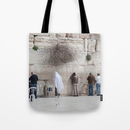 Praying at the Wailing Wall or Western Wall Tote Bag