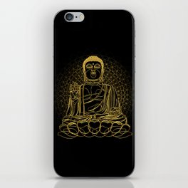 Golden Buddha on Black iPhone Skin