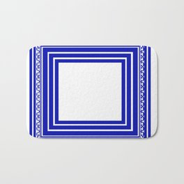 Blue and White Lines Geometric Abstract Pattern Bath Mat