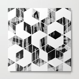 Elegant Black and White Geometric Design Metal Print