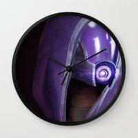 garrus Wall Clocks featuring Mass Effect: Tali'Zorah vas Normandy by Ruthie Hammerschlag