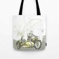 motorbike Tote Bags featuring Vintage Hockenheim Motorbike Ad by Christine aka stine1