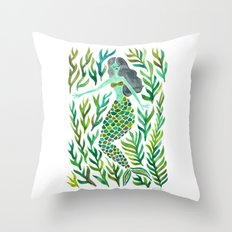 Kelp Forest Mermaid – Green Palette Throw Pillow