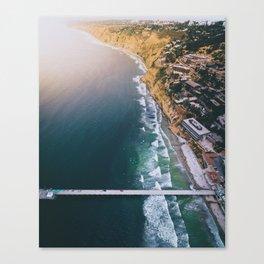 Aerial view of Scripps Pier in San Diego Canvas Print