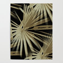 Brown On Black Tropical Vibes Beach Palmtree Vector Poster