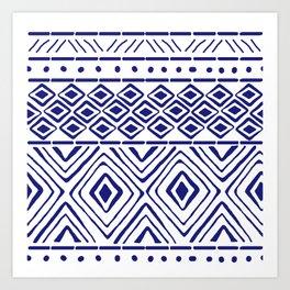 African Mud Cloth // Blue Art Print