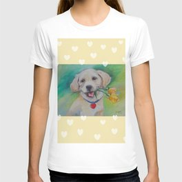 Yellow Valentine Cute puppy dog with hearts and flowers T-shirt