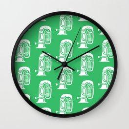 Tuba Pattern Green Wall Clock