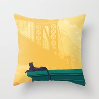 urban Throw Pillows featuring Urban jaguar by Roland Banrevi