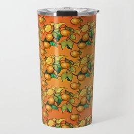 """Coral Sunset over Lemon tree Pattern"" Travel Mug"