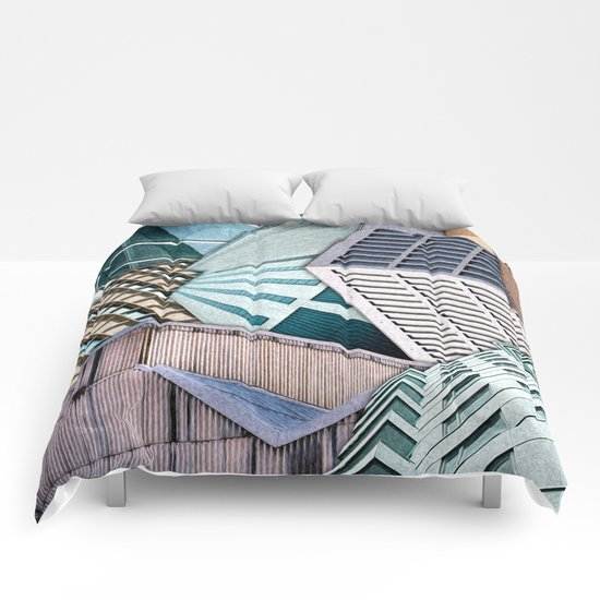 City Buildings Abstract Comforters