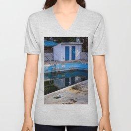 Abandoned Hotel Pool Unisex V-Neck