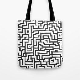 White and Dark Grey Maze Pattern Tote Bag