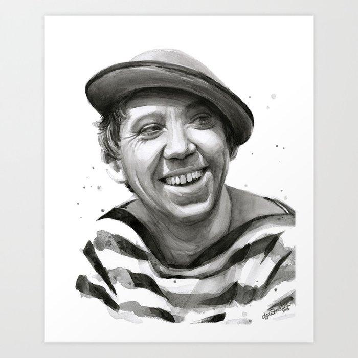 Yuriy Nikulin Portrait Watercolor | Юрий Никулин портрет Art Print