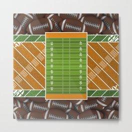 Orange Football Field and Footballs Metal Print
