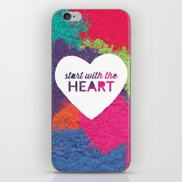 Start With The Heart Quote Print iPhone Skin